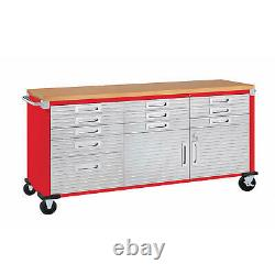 11 Drawer Tool Storage Chest Cabinet Wood Top Workbench Mobile Rolling 2 Door Re