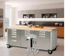 11 Drawers Tool Storage Chest Cabinet Wood Top Workbench Mobile Rolling 2 Doors