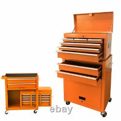 2 in 1 Rolling Cabinet Tool Chest Cabinet Steel Storage Box with8 Drawers & Wheels