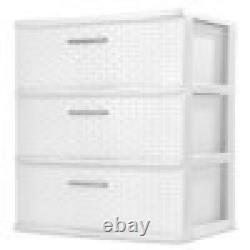 3-Drawer Dresser Chest, Plastic Storage Organizer Cabinet Wide Weave Many Colors