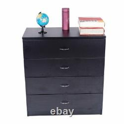 4 Drawers Dresser Black Wood Chest Storage Cabinet for Closet to Storing Clothes