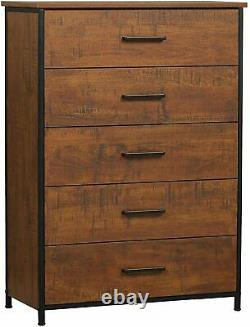 5 Drawer Wood Dresser Chest Storage Tower Clothes Organizer Cabinet for Bedroom