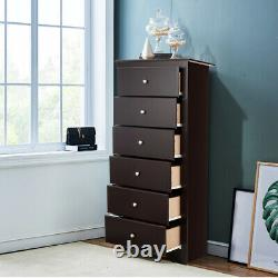 6 Drawer Chest Dresser Clothes Storage Bedroom Tall Furniture Cabinet Brown