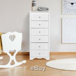 6 Drawer Chest Dresser Clothes Storage Bedroom Tall Furniture Cabinet White