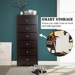 6 Drawer Chest Dresser Clothes Storage Bedroom Tall Home Cabinet Brown