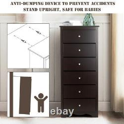 6 Drawer Chest Dresser Clothes Storage Tall Furniture Cabinet for Bedroom Brown