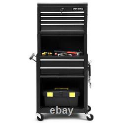 6-Drawer High Capacity Rolling Tool Chest Storage Cabinet Toolbox Combo with Riser