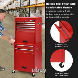 6-Drawer Toolbox Rolling Tool Chest Storage Cabinet Combo Locking withRiser Red