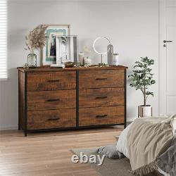 6 Drawers Double Dresser Chest Wood Frame Large Storage Cabinet for Bedroom