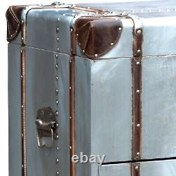 Aluminium & Leather Trunk Style Industrial Storage Drawer Chest