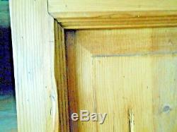 Antique Pine Primitive Cabinet Storage Chest with Panel Doors Country