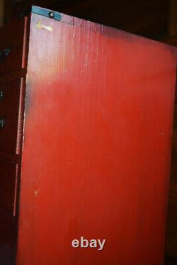 Antique Red Lacquer Japanese Tea Cabinet Tansu Storage Chest Safe Box 24x19x13