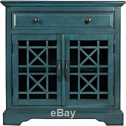 Blue Two Glass Doors Accent Chest Cabinet Home Living Room Storage Furniture