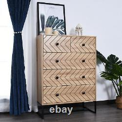 Chest Of 5 Drawers Sideboard Cabinet Storage Unit Bedroom Wood with Black Metal