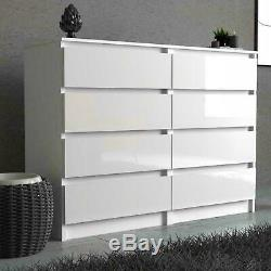 Chest Of Drawers White Black Bedroom Furniture Tall Wide Storage bedside cabinet