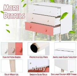 Chest of 3 Drawers Kids Bedroom Furniture Cabinet Storage Unit Wooden Pink New
