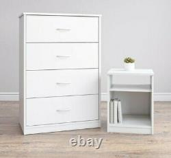 Classic 4 Drawer Dresser, Chest of Drawers, Storage Cabinet, White Finish
