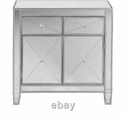 Contemporary Mirrored Cabinet with 2 Drawers Elegant Accent Storage Display Chest