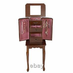 Costway Armoire Jewelry Cabinet Storage Chest Stand Organizer Necklace Wood NEW