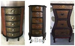 Dark Wood Oriental Style Chest of Drawers Cabinet Cupboard Bedside Table Storage
