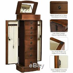 Details about Jewelry Cabinet Armoire Storage Chest Box Stand Organizer Wood C