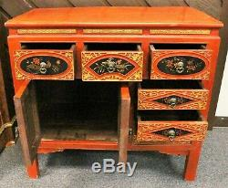 Early 20th Century Chinese Asian Orange Lacquered Wood Storage Chest Cabinet
