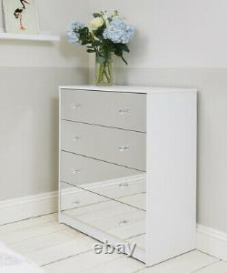 Four Drawer White Mirrored Chest of Drawers Cabinet Storage Unit Bedroom