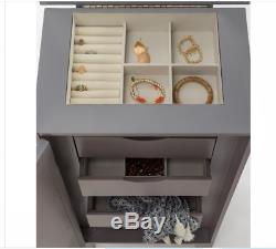 Gray Jewelry Armoire Cabinet Holder Storage Chest Free Standing Modern Mirrored