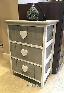 Grey White Chest of Drawers Storage Unit Shabby Chic Heart Bedside Cabinet