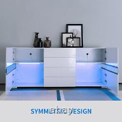 High Gloss LED Sideboard Buffet Cabinet Chest of Drawers Storage Cupboard White