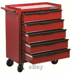 Hilka Tool Trolley Chest 5 Drawer Steel Mobile Storage Roll Roller Cabinet Unit
