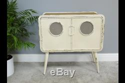 Industrial Style Rustic Metal Cabinet Storage Unit / Small Chest Retro White