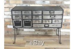 Industrial Style Rustic Metal Drawer Cabinet Chest Of Drawers Storage Unit