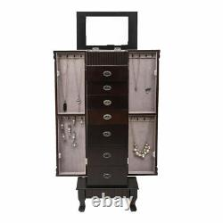 Jewelry Armoire Cabinet Storage Chest Stand Organizer Mirror Top with 7 Drawers