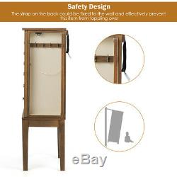 Jewelry Cabinet Armoire Big Standing Storage Box Chest withDrawers & Mirror Nature