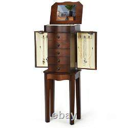 Jewelry Cabinet Armoire Storage Stand Chest Organizer withDrawers&Mirror Christmas