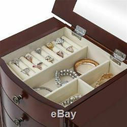 Jewelry Organizer Armoire Cabinet Box Storage Chest Wood Stand Lockable Mirroed