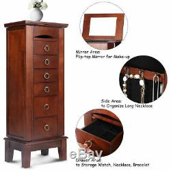 Jewelry Wood Cabinet Armoire Storage Box Chest Stand Organizer Christmas Gift