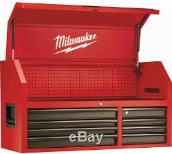 Milwaukee Steel Tool Chest 46In 16 Drawer Rolling Cabinet Set Textured Red Black