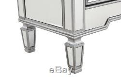 Mirrored Cabinet Dresser Chest Silver Living Room Bedroom 6 Drawers Storage 48