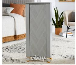 Modern Gray Freestanding Jewelry Armoire Cabinet Chest Storage Embossed NEW