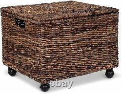 Natural Seagrass Hanging Files Rolling Cabinet Durable Storage Wheels Chest Toys
