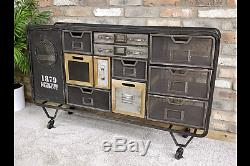 Neo Industrial Style Metal Cabinet Storage Sideboard Chest Of Draws W128cm x H78