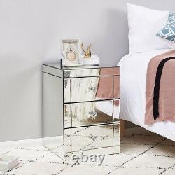 New Modern Mirrored Glass Crystal Bedside Storage Cabinet Table Chest 3 Drawers