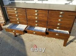 Primitive Vintage 21 Drawer Hardware Store Parts Cabinet, Apothecary Chest