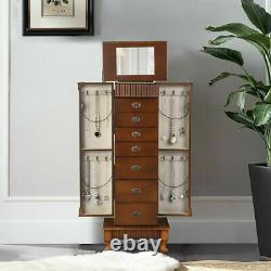 Retro Jewelry Cabinet Armoire Box Storage Chest Stand Organizer for Christmas