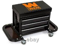 Rolling Tool Box 3 Drawers Chest Seat Tools Storage Cabinet Mechanic Stool