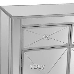 Silver Mirrored Storage Cabinet Drawer Dresser Chest Nightstand Side End Table