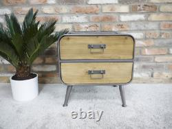Small 2 Drawer Bedside Chest Lamp Table Retro Industrial Style Storage Cabinet