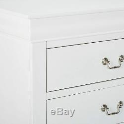 Solid White Finish 5 Drawer Dresser Wooden Chest Drawers Cabinet Clothes Storage